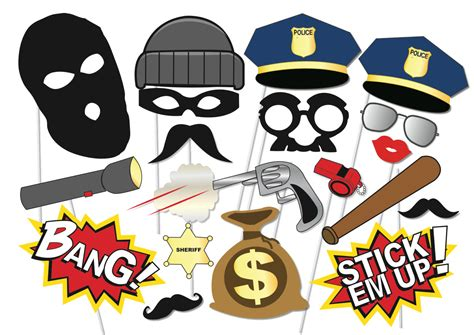 printable police photo booth props cops and robbers party photo booth props set 20 piece