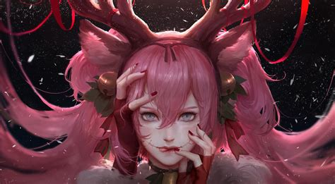 wallpaper anime realistic download 3712x2046 anime girl christmas pink hair semi