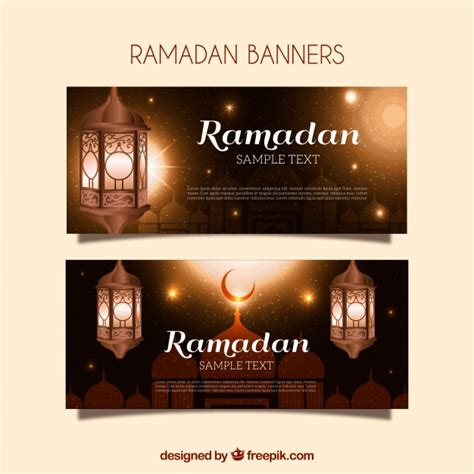 design banner ramadan golden ramadan banners with lanterns vector free download