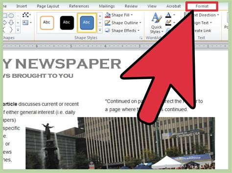 3 Ways To Make A Newspaper On Microsoft Word Wikihow Newspaper Template Microsoft Word
