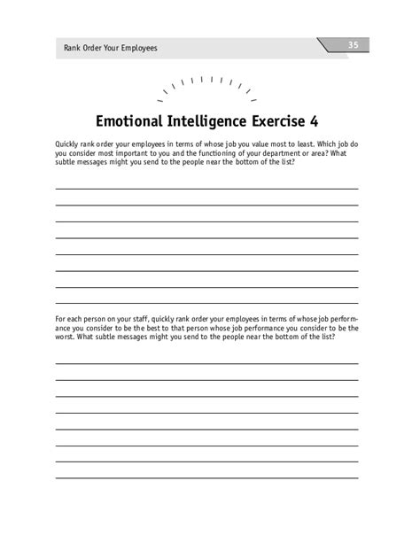 emotional intelligence worksheets amacom the emotional intelligence activity book 50 activities for