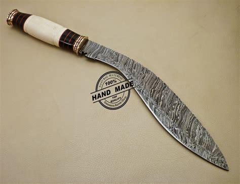 Handmade Damascus Steel Knife - damascus kukuri knife custom handmade damascus steel