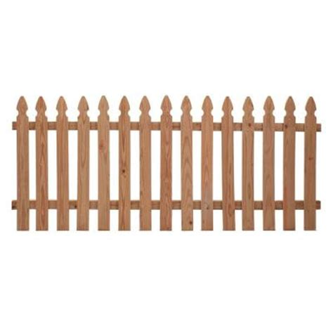 picket fence sections home depot incense cedar french gothic fence panel common 3 1 2 ft