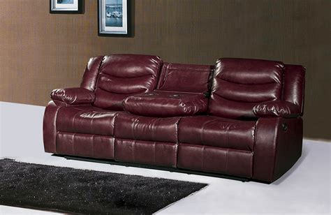 reclining sofa with drop console 644burg burgundy leather reclining sofa with drop console