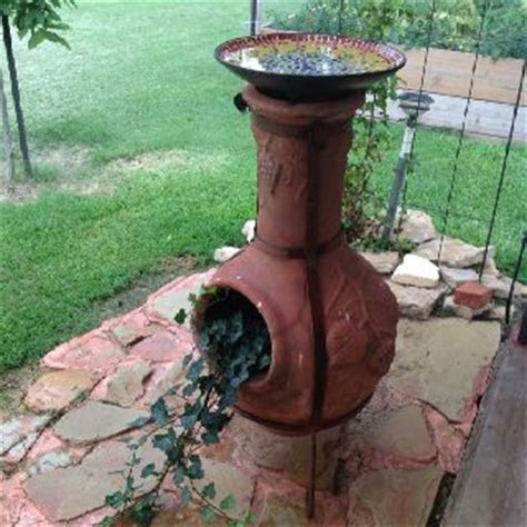 chiminea landscape ideas a new use for an chiminea bird bath planter