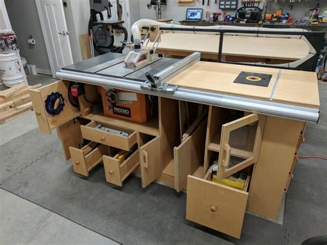 table saw router table woodworking plan table saw router station finally done by coachgut