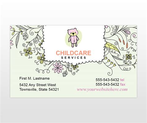 babysitting templates for business cards child baby day care services provider business card
