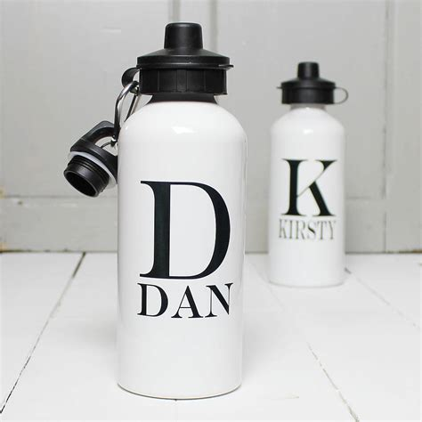 personalised monochrome initial water bottle by snapdragon