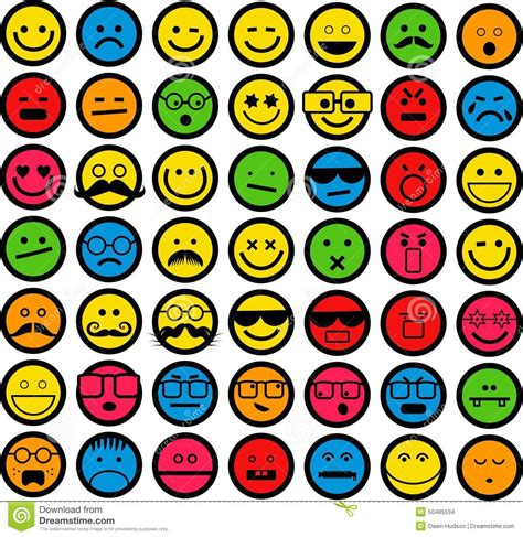 color emotions color emoticons stock illustration image 50485534