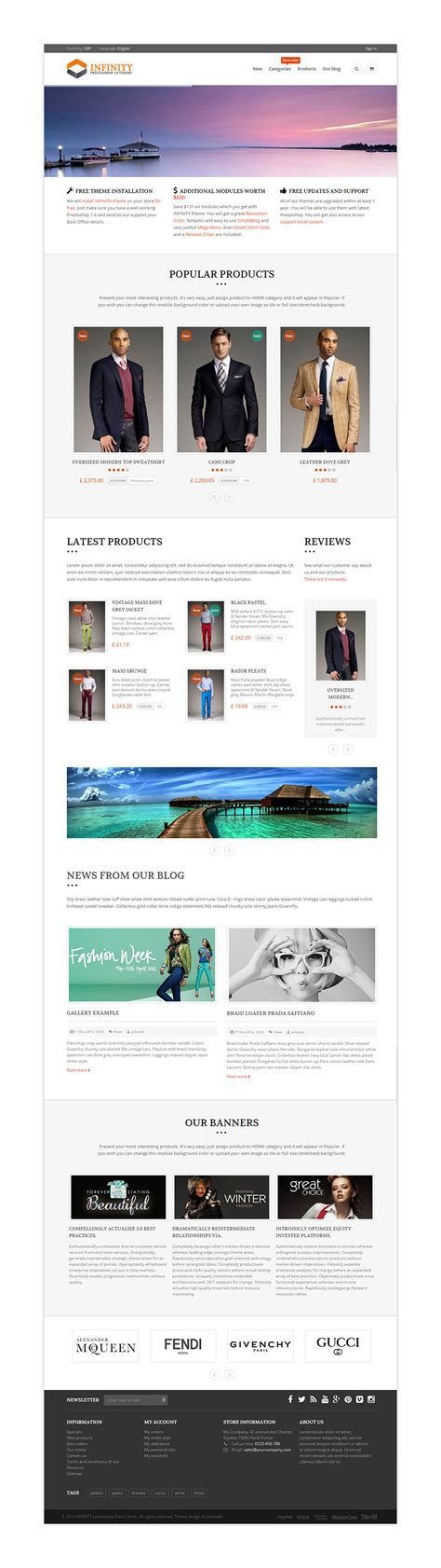 prestashop theme editor infinity prestashop theme with blog theme editor by