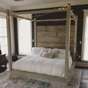 Wooden Canopy Bed Frame Reclaimed Wood Canopy Bed White