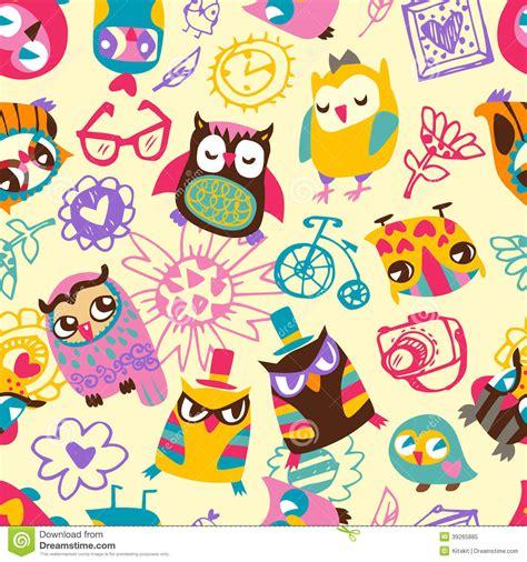 V22 Wallpaper Sticker Motif Vintage Purple owl seamless background vector stock vector
