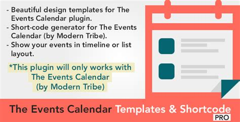 template shortcode the events calendar templates and shortcode