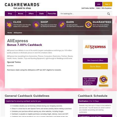 aliexpress cashback aliexpress 10 cashback was 7 cashrewards ozbargain