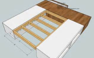 Diy Bed Frame With Storage Plans White King Storage Bed Diy Projects