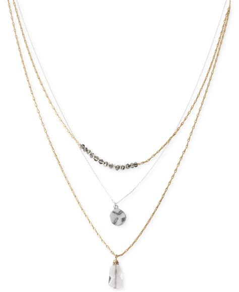 Kenneth Lanes Lipstick Necklace At Outfitters by Kenneth Cole Two Tone Disc And Faceted Bead Three Row