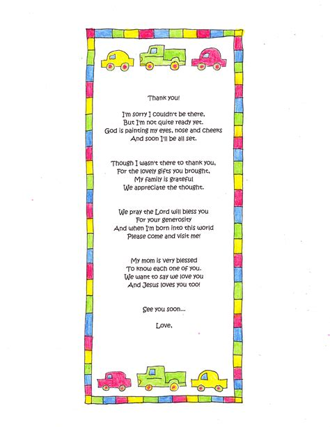 Baby Shower Poem For Boy by A Baby Shower Thank You Poem Happy Home