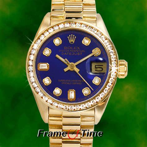 rolex president datejust 18k gold blue