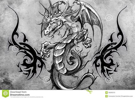medieval dragon tattoo design over grey background