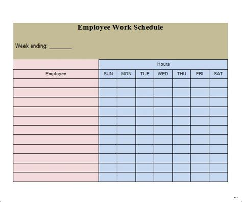 Weekly Work Schedule Template Useful Portrait Employee Excel Blank Printable Schedules Grmsnt Free Weekly Employee Schedule Template