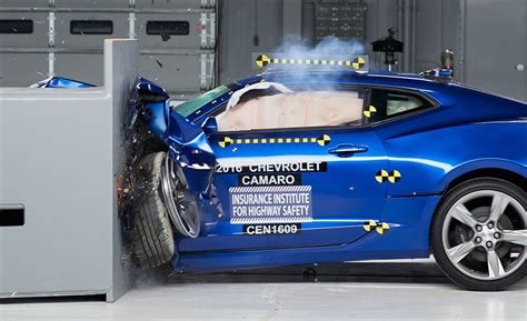 car crash test mustang camaro challenger fall in iihs crash tests