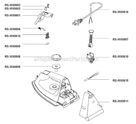 rowenta iron parts diagram rowenta de013 parts list and diagram ereplacementparts