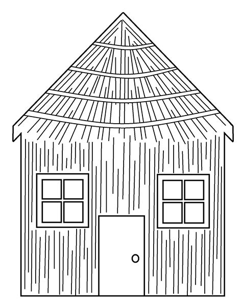 free coloring pages of three pigs stick house