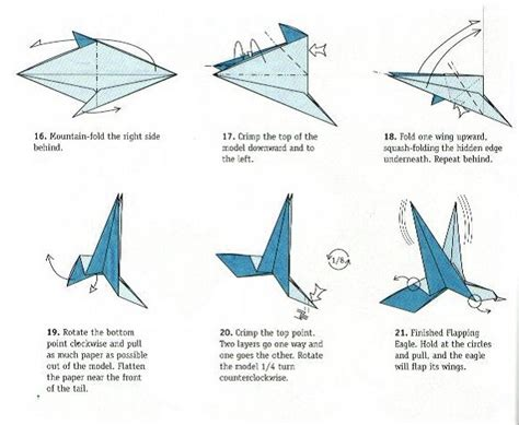 Moving Origami Crane - flapping bird schemes of origami from paper