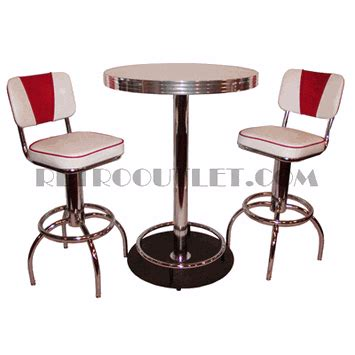 Retro Bar Table Classic Pub Table Chrome Barstool Package Retrooutlet