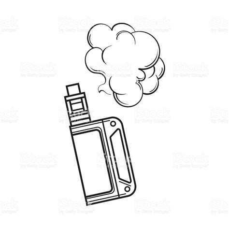 diagram sketch vape vaping device with smoke cloud sketch