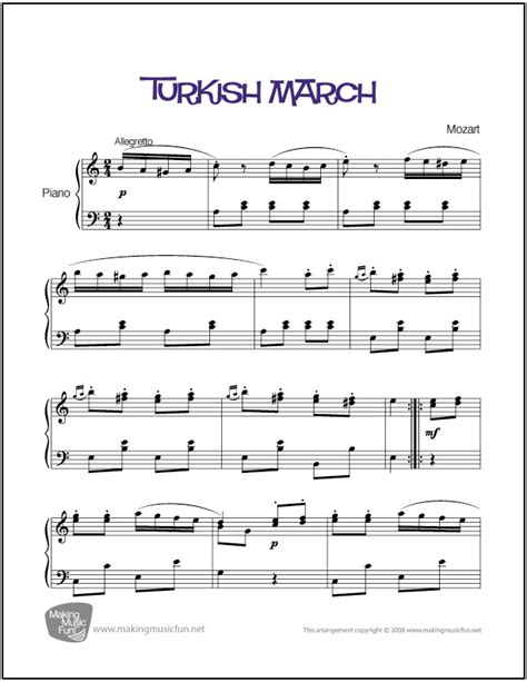 tutorial piano turkish march turkish march mozart easy piano sheet music digital