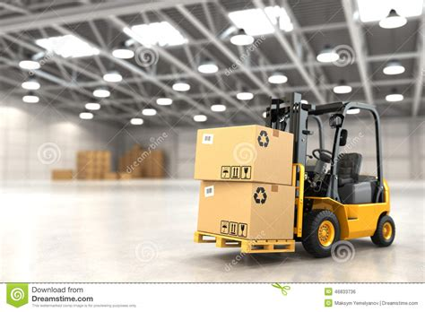 Warehouse No Background Check Forklift Truck In Warehouse Or Storage Loading Cardboard Boxes Stock Illustration