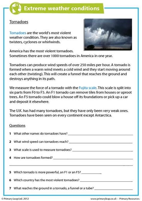 worksheets on tornadoes primaryleap co uk weather conditions tornadoes worksheet geography printable