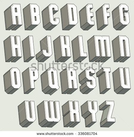 3 dimensional typography 3d font geometric threedimensional letters set stock vector 336081704