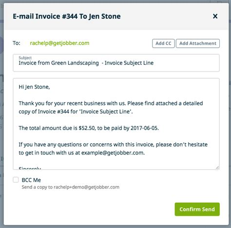 sle invoice email message sending invoices to clients jobber help center email