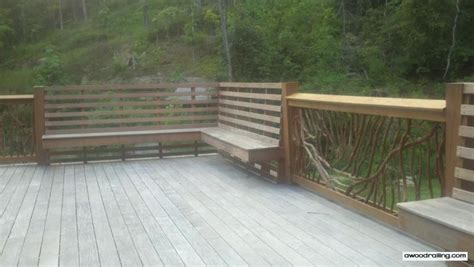 deck railing with bench seating built in bench and deck balusters deck railing