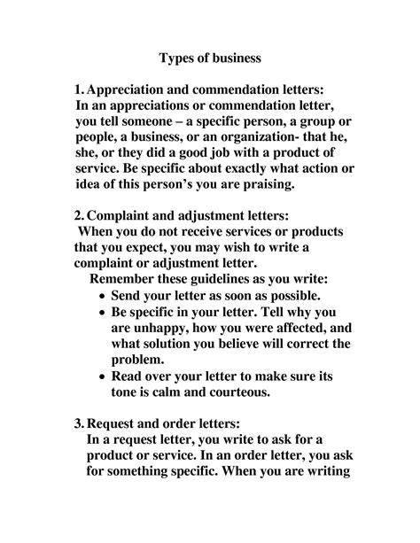 Business Correspondence Letter Types types of letters format best template collection