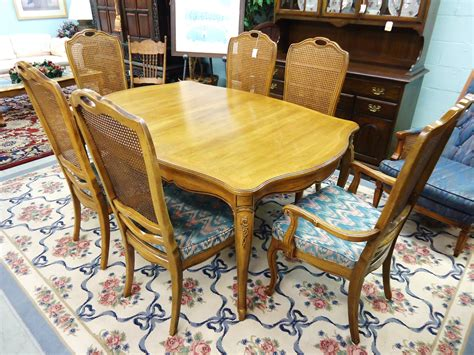 thomasville dining table and chairs thomasville camille dining table and 6 cane back chairs