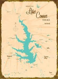 lake conroe tx map wood or metal sign
