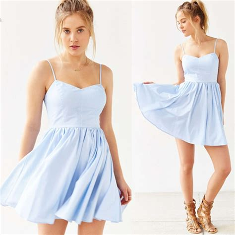 light blue spaghetti strap fashion 2016 light blue bandage women dresses