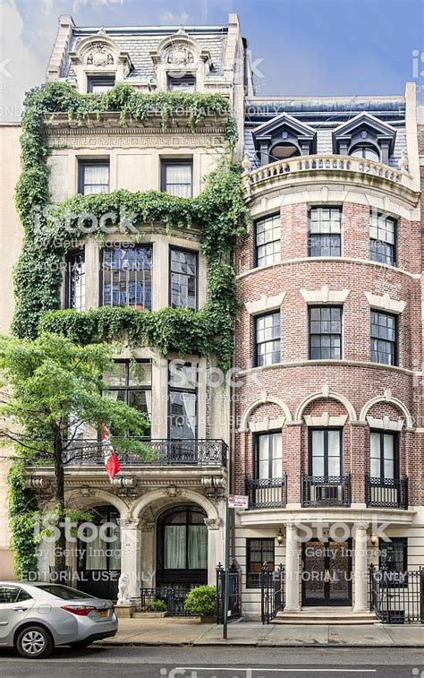 manhattan upper east side townhouses  york city stock