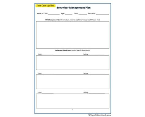 individual behaviour management plan template behaviour management plan aussie childcare network