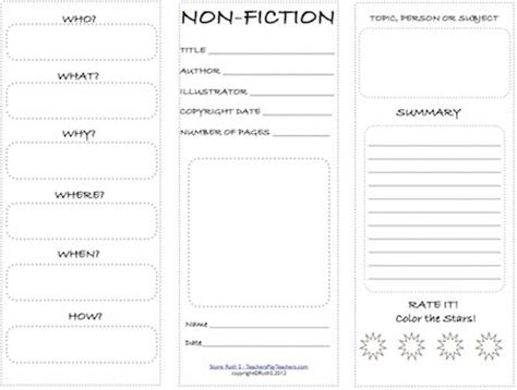 templates for non fiction books non fiction book report template elementary students