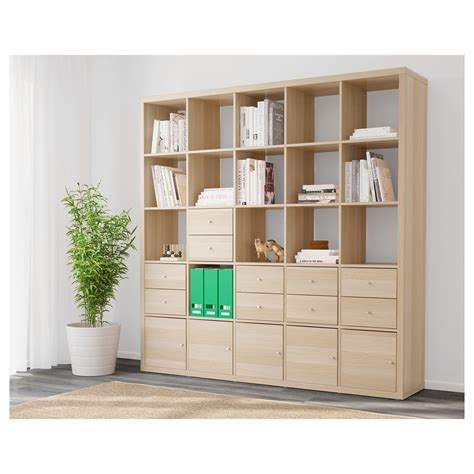 wohnzimmer 4 x 10 kallax shelving unit with 10 inserts white stained oak