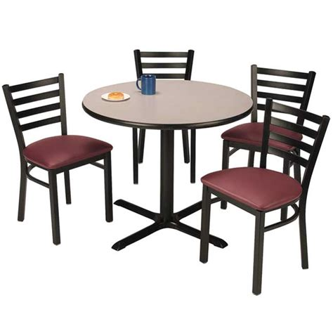breakroom tables and chairs kfi t42rd im3316x4 x base cafe table with four im3316