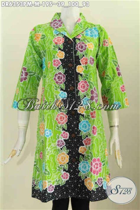 Baju Warna Hijau Kombinasi baju batik bunga bunga kombinasi warna hijau dan hitam dress batik kerah langsung buatan