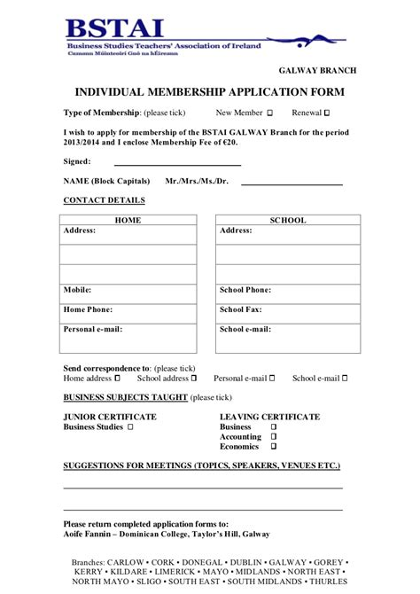 Membership Application Form 2013 2014 Galway1 Membership Application Form Template Free