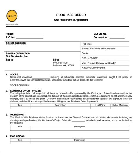 Purchase Order Contract Template purchase order templates 17 free sle exle
