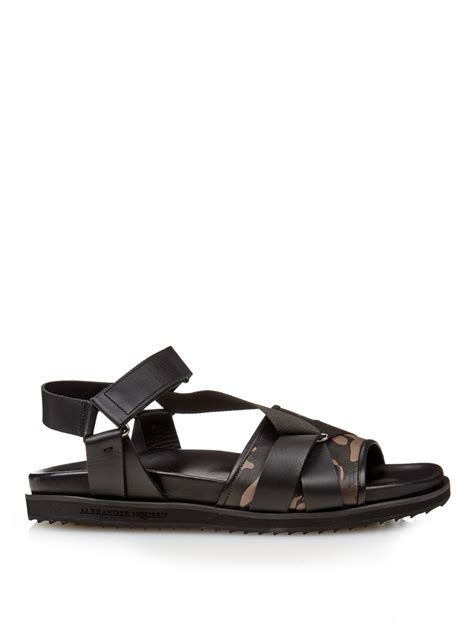 camouflage sandals mcqueen camouflage print leather sandals in