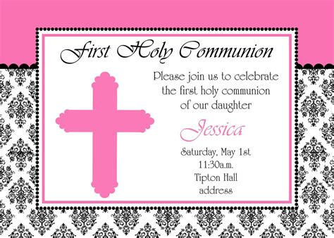 holy communion invitations templates girly holy communion invitation by mmcarddesigns on etsy